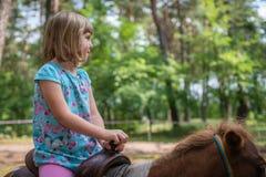 Équitation mignonne de petite fille sur un poney Images stock