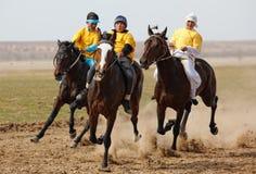 équitation nationale de nomade de cheval traditionnelle Photo stock
