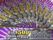 Éraflure de NJ outre des billets de loterie, Etats-Unis Ð « Photo stock