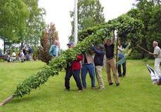 Érection du poteau traditionnel de milieu de l'été Image stock