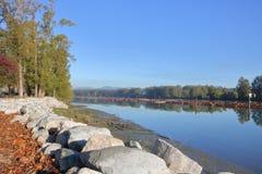 Érosion de rive et protection d'application photographie stock