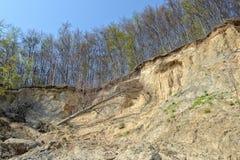 Érosion de roche de falaise de craie sur l'île Allemagne de Rugen photographie stock