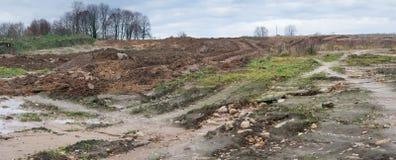 Érosion de terre et de sol des effets du vent, de l'eau et de la barre image libre de droits