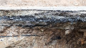 Érosion du sol sous la route photographie stock libre de droits