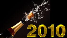 Éruption 2010 de bouteille de Champagne Photos stock
