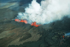 Éruption de volcan de Bardarbunga en Islande Photo stock