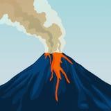 Éruption naturelle chaude de volcan de montagne de cratère Fumée Incendie illustration libre de droits
