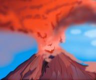 Éruption naturelle chaude de volcan de montagne de cratère Volcan d'Errupting illustration stock