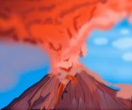 Éruption naturelle chaude de volcan de montagne de cratère Volcan gris illustration libre de droits