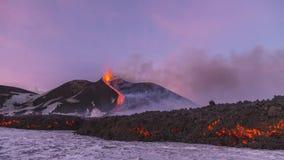 Éruption spectaculaire de Volcano Etna, Sicile, Italie Images libres de droits