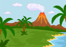 Éruption volcanique illustration de vecteur