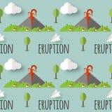 Éruption volcanique de modèle sans couture de vecteur Fumée et lave du cratère, du village et des arbres au pied Utilisé pour des illustration libre de droits