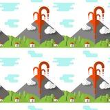 Éruption volcanique de modèle sans couture de vecteur Fumée et lave du cratère, du village et des arbres au pied Utilisé pour des illustration stock