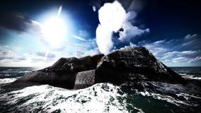 Éruption volcanique sur le rendu de l'île 3d Images libres de droits