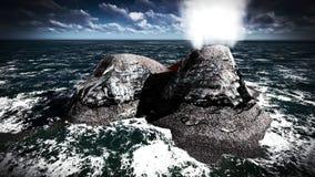 Éruption volcanique sur le rendu de l'île 3d Photographie stock