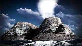 Éruption volcanique sur le rendu de l'île 3d Photo libre de droits