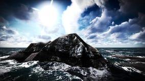 Éruption volcanique sur le rendu de l'île 3d Images stock