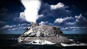 Éruption volcanique sur le rendu de l'île 3d Photo stock