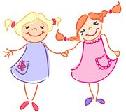 Ésta es amistad de dos muchachas ilustración del vector
