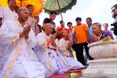 Ésta es ceremonia de la ordenación y cultura tailandesa Fotografía de archivo