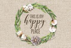 Ésta es mi guirnalda floral del algodón feliz del lugar con el fondo elegante lamentable de madera foto de archivo