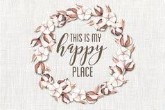 Ésta es mi guirnalda floral del algodón feliz del lugar con el fondo elegante lamentable de madera fotografía de archivo