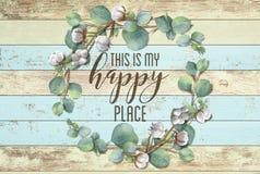 Ésta es mi guirnalda floral del algodón feliz del lugar con el fondo elegante lamentable de madera fotos de archivo libres de regalías