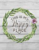 Ésta es mi guirnalda floral del algodón feliz del lugar con el fondo elegante lamentable de madera imagen de archivo