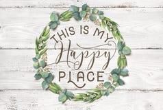 Ésta es mi guirnalda floral del algodón feliz del lugar con el fondo elegante lamentable de madera imagen de archivo libre de regalías