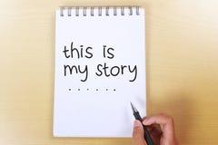Ésta es mi historia, citas inspiradas de motivación imágenes de archivo libres de regalías