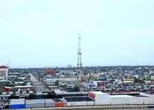 Ésta es una vista de la ciudad de Galveston, Tejas Fotos de archivo libres de regalías
