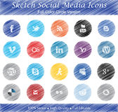Bosqueje las insignias sociales de los medios - ver a todo color del círculo Fotografía de archivo