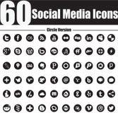 60 iconos sociales de los medios circundan la versión Foto de archivo