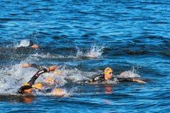 ÉSTOCOLMO - AGOSTO, 25: O começo caótico nos homens que nadam com Imagem de Stock Royalty Free