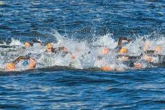 ÉSTOCOLMO - AGOSTO, 25: O começo caótico nos homens que nadam em t Fotos de Stock