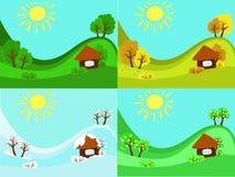 été Autumn Winter de ressort de 4 saisons illustration de vecteur