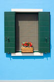 été bleu de maison de façade Image libre de droits