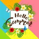 Été coloré de fond et de textes bonjour avec des fleurs Photo libre de droits