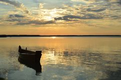 Été, coucher du soleil, le soleil, ciel, l'eau, lac, nature Photo stock