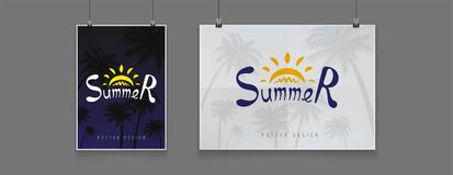 Été courant de panneau d'affichage de nuit d'illustration Palmiers, palmiers dattiers Nuit, noir, fin de soirée, partie, luxe Moq Images stock