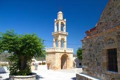 Été d'architecture de bâtiments historiques d'Asklipeiou Rhodos Grèce Photographie stock