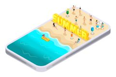 Été d'Isometrics, lettres, police, inscription, demande de smartphone de trouver Ibiza, divertissement, visites, récréation, la m illustration libre de droits