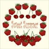 Été de bonbon à bannière de typographie Chapelet de fraises, cerises sur le fond clair illustration stock