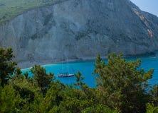 Été de la Grèce de plage de bateau de mer de Porto Katsiki Image libre de droits