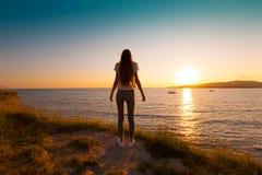 Été de mer Coucher du soleil dos Photo stock