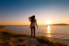 Été de mer Coucher du soleil dos Photographie stock libre de droits