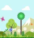 Été du paysage plat de paysage de nature de quatre saisons illustration libre de droits