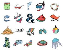 Été et ensemble coloré d'icônes tirées par la main de vecteur : Plage dans le thème d'été Images libres de droits