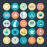 Été et icônes 4 de vecteur colorées par voyage illustration de vecteur