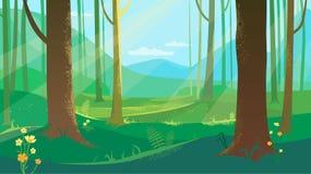 Été Forest Landscape With Flowers illustration libre de droits